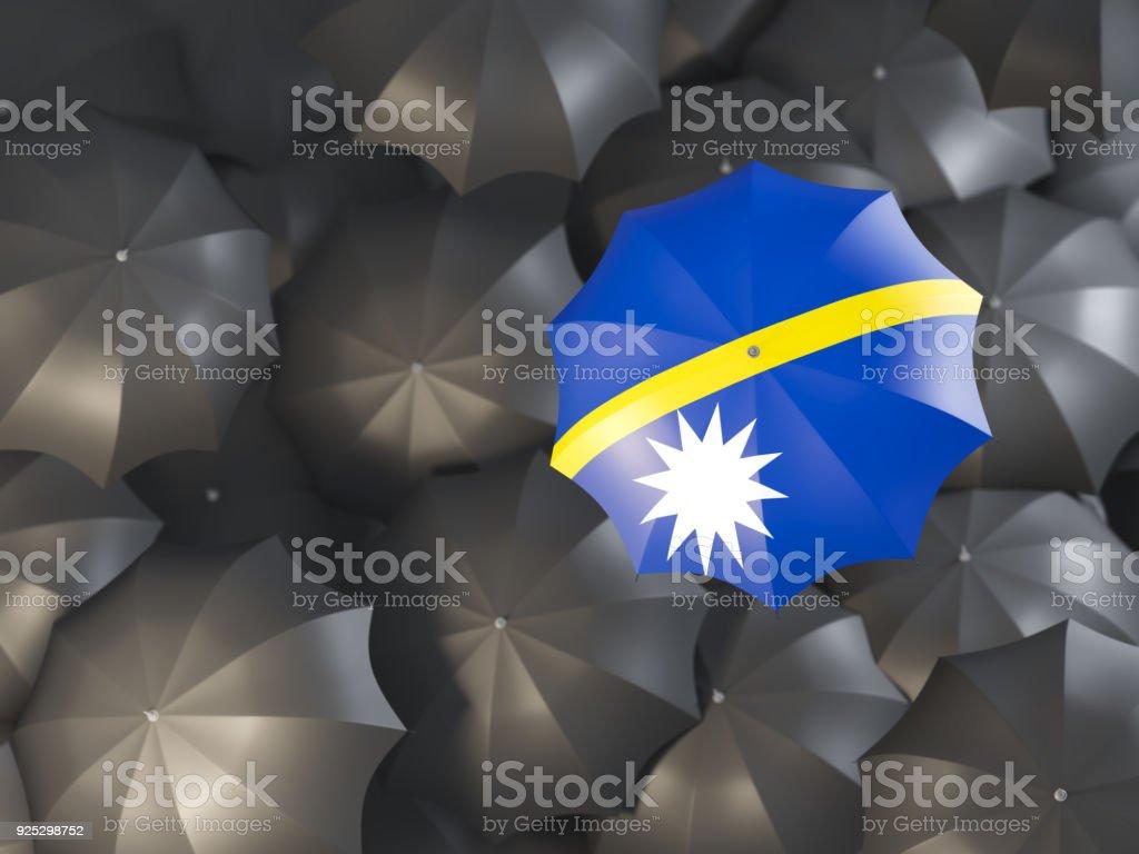 Umbrella with flag of nauru stock photo