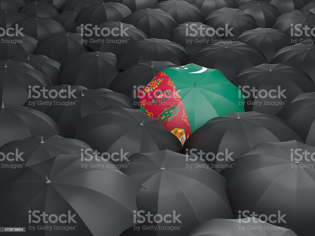 Umbrella with flag of turkmenistan stock photo