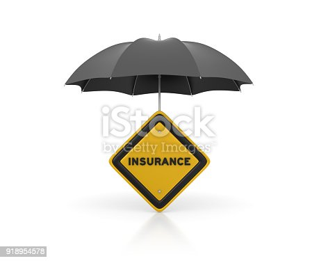 istock Umbrella with Insurance Road Sign - 3D Rendering 918954578