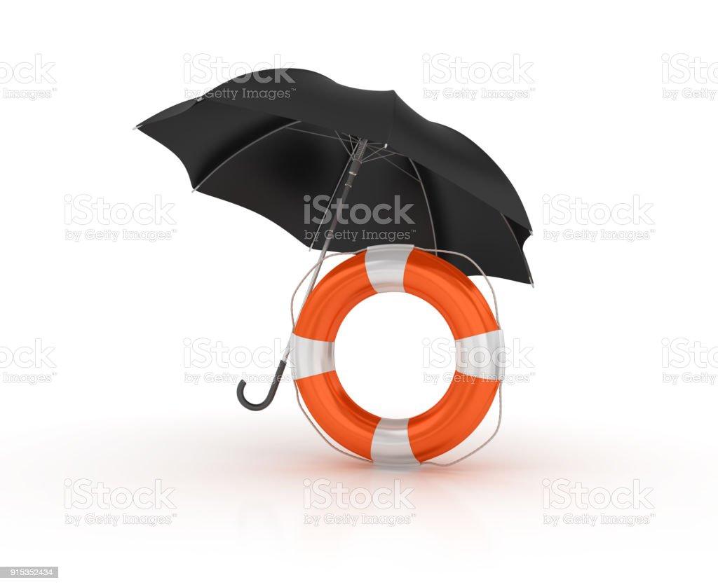 Umbrella with Life Belt - 3D Rendering stock photo