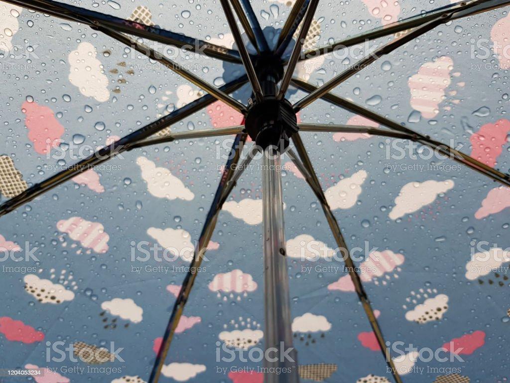 Paraguas Con Gotas De Lluvia En El Día Lluvioso Foto De Stock Y Más Banco De Imágenes De Abstracto Istock