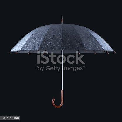 istock Umbrella with rainy drops isolated on dark studio background. 627442468