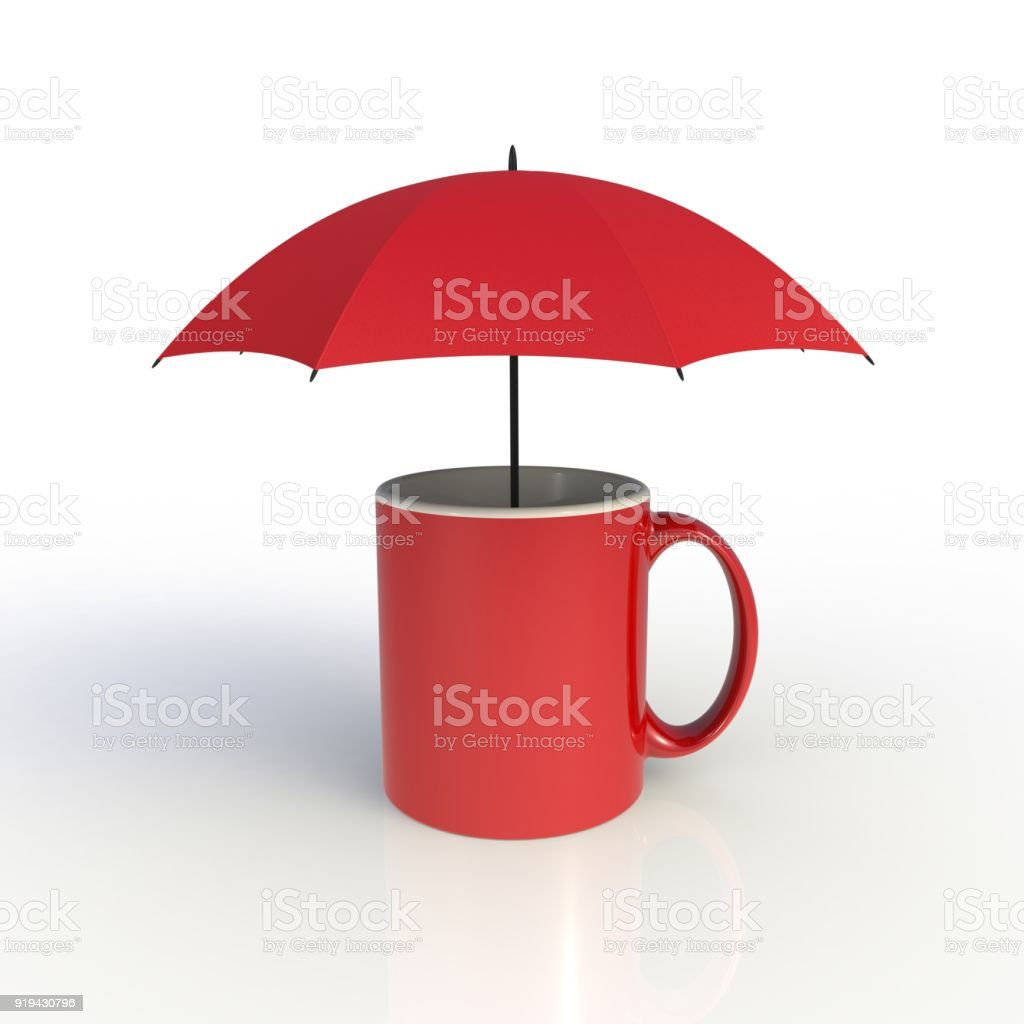 umbrella with red coffee cup isolated on white background mock up