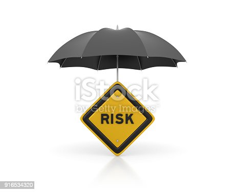 istock Umbrella with Risk Road Sign - 3D Rendering 916534320