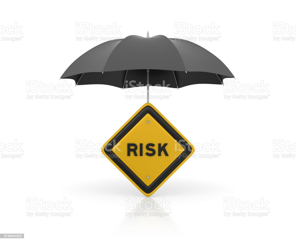 Umbrella with Risk Road Sign - 3D Rendering stock photo