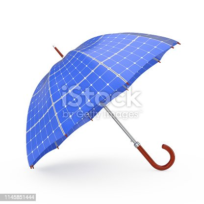 Umbrella with Sollar Panels on a white background 3d Rendering