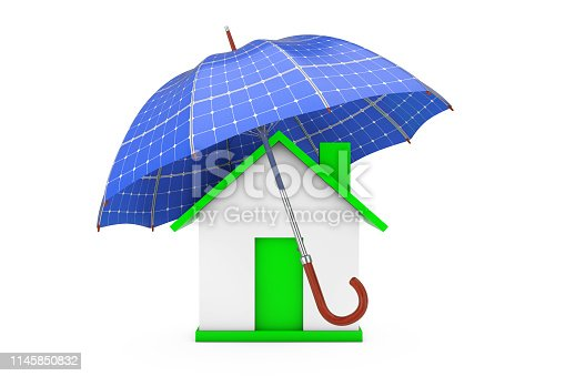 istock Umbrella with Sollar Panels Over House. 3d Rendering 1145850832