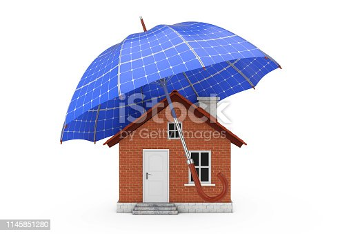 istock Umbrella with Sollar Panels Over House. 3d Rendering 1145851280