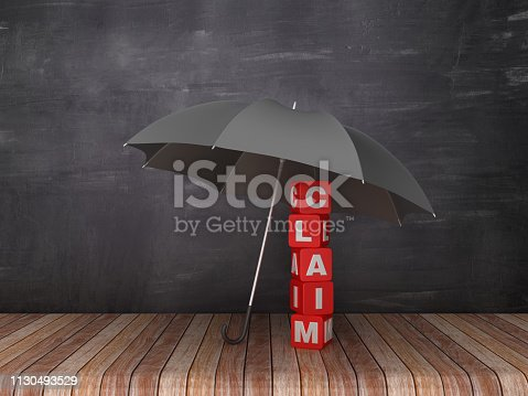 istock Umbrella with XXX on Wood Floor - Chalkboard Background - 3D Rendering 1130493529