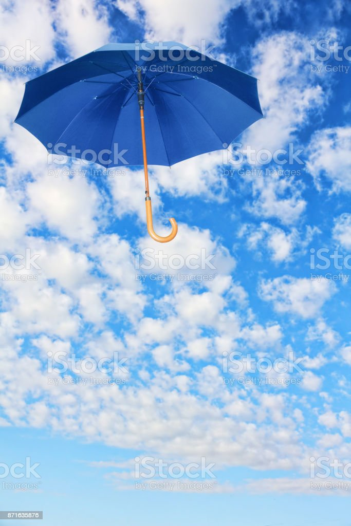 Mary Poppins Umbrellablue Schirm Fliegt Im Himmel Gegen Die Weißen