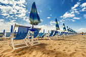 Umbrellas and chairs in Versilia, Italy