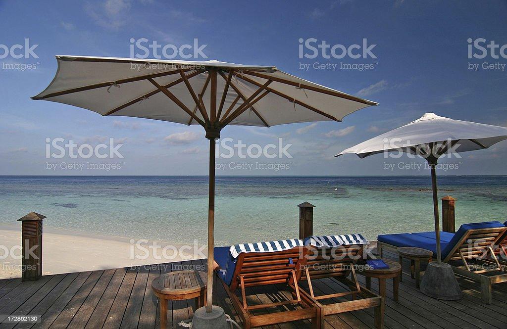 Umbrellas and sun deck royalty-free stock photo
