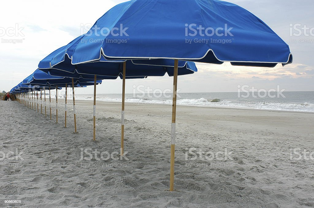 Umbrellas at the beach royalty-free stock photo