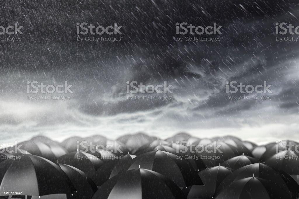 Schirme in einem stürmischen Wetter, Konzept von Schutz und Sicherheit – Foto