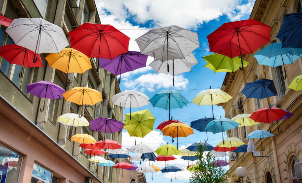 Umbrellas in Sombor on the street stock photo