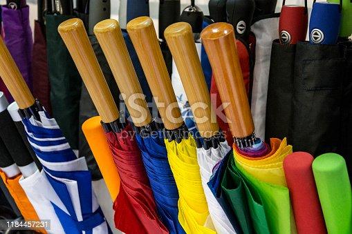 Assorted umbrellas in the store