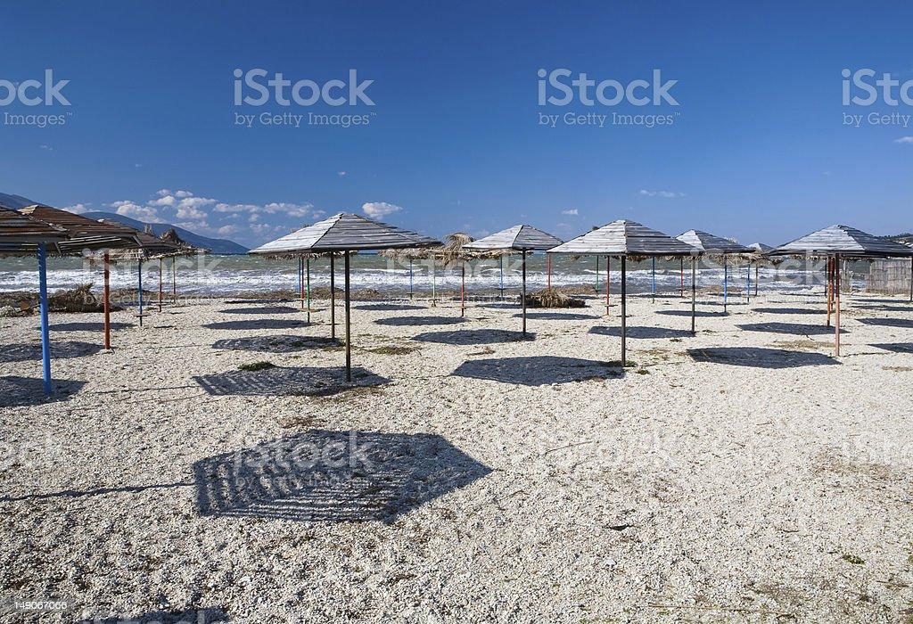 Umbrellas on a beach royalty-free stock photo