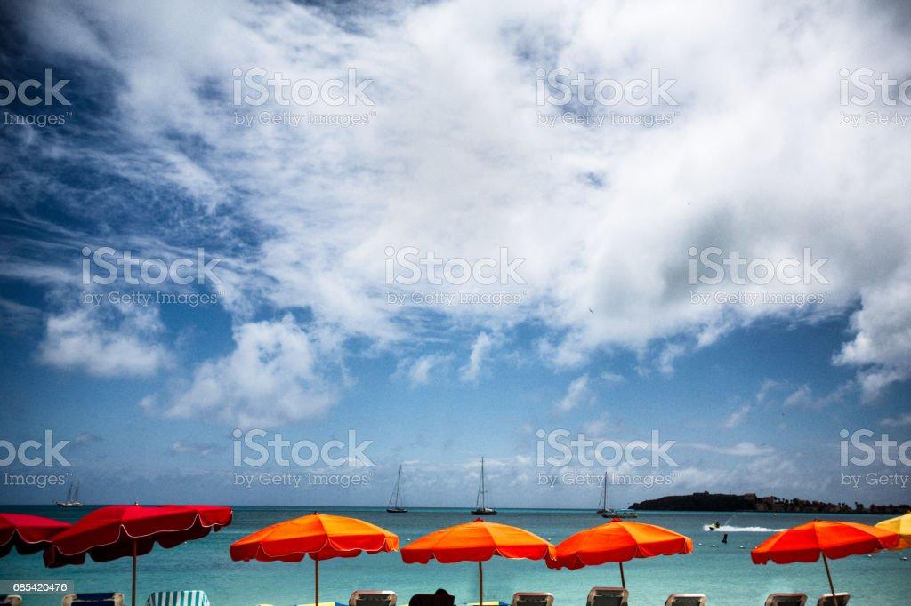 Sonnenschirme Am Strand Große Bucht Im Niederländischen St