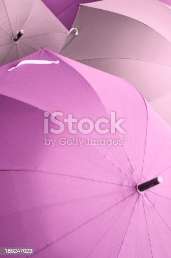 Umbrellas at the hotel lobby, toned image.