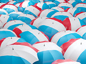 Flag of luxembourg on umbrella. 3D illustration