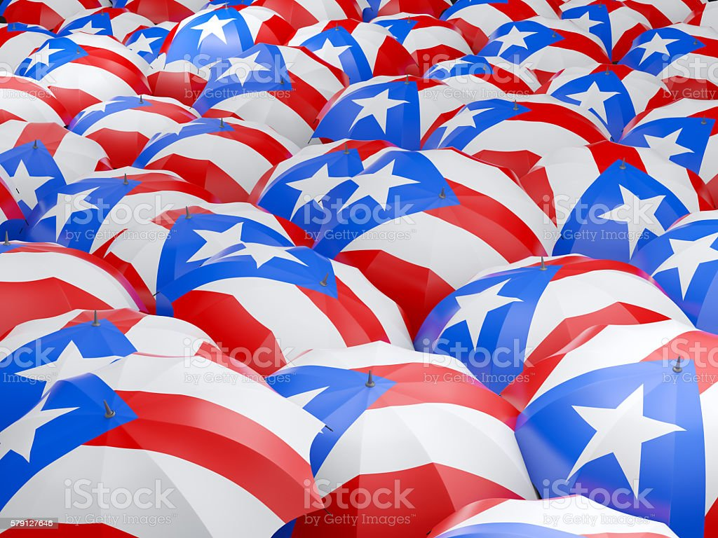 Umbrellas with flag of puerto rico - foto de stock
