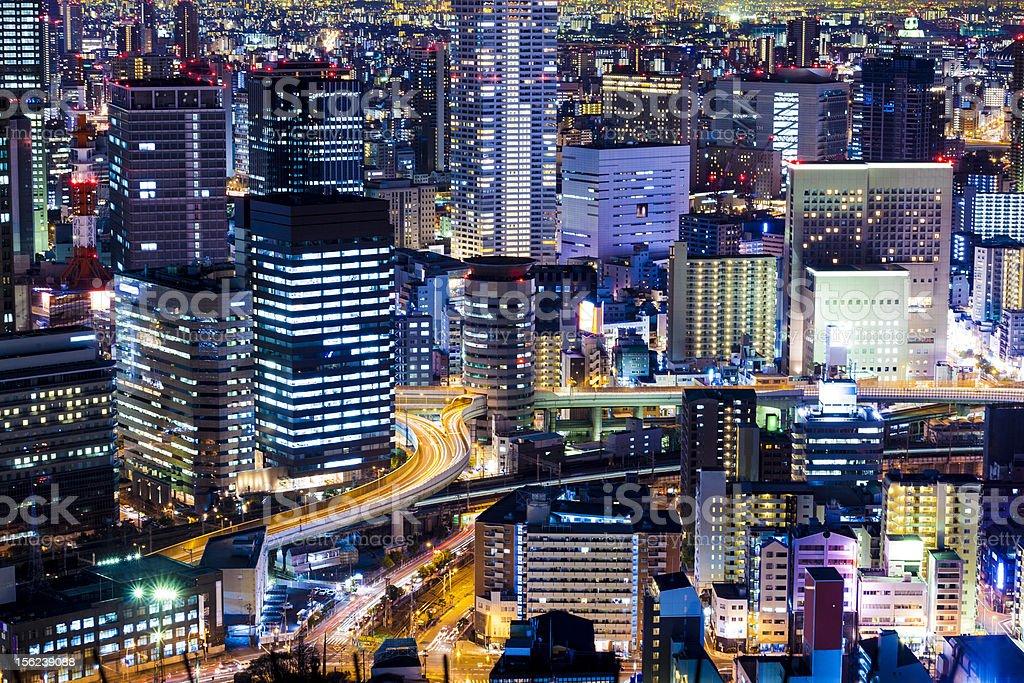 Umeda Osaka by Night, Japan stock photo