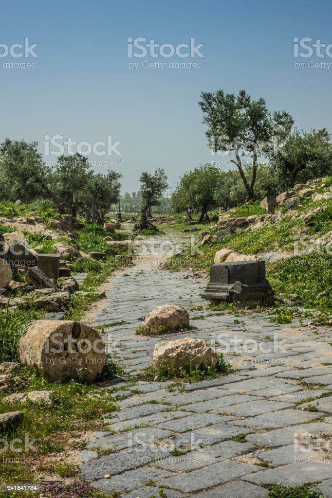 Umm Qais site ruins road detail stock photo