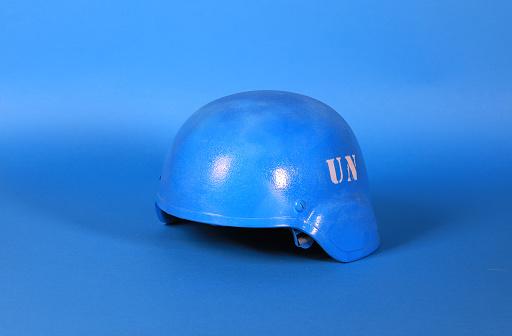 un blue helmet on blue background
