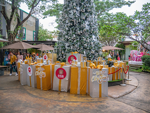 Udon Thani/Thailand-11 Dec 2017:Unacquainted People in UD Town Community mall in christmas theme at Udon Thani City Thailand.Udon Thani Province is a province (changwat) in northeast Thailand.