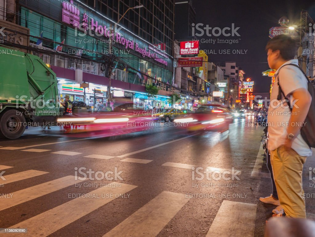 Unacquainted Thai People Or Tourist Walking And Motion Of
