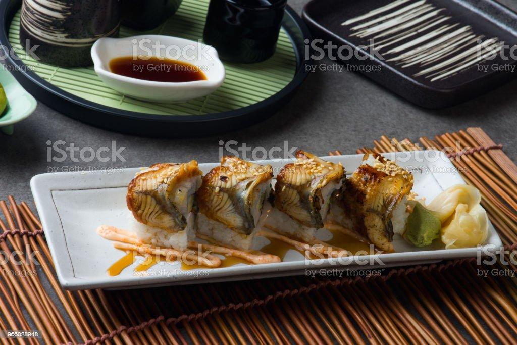 Unagi Maki gegrillte japanische Freswater Aal Roll sushi - Lizenzfrei Asien Stock-Foto