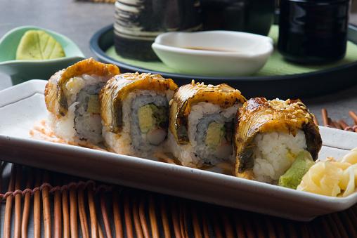 Unagi Maki Gegrilde Japanse Freswater Aal Broodje Sushi Stockfoto en meer beelden van Avondmaaltijd