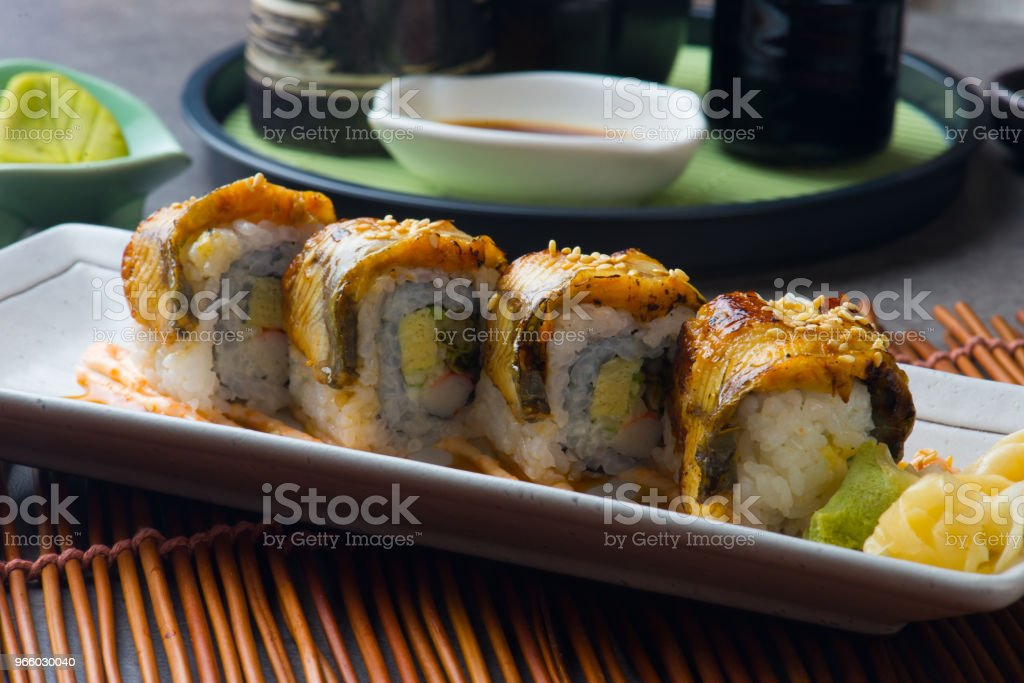 unagi maki grilled japanese freswater eel roll sushi - Royalty-free Alga marinha Foto de stock