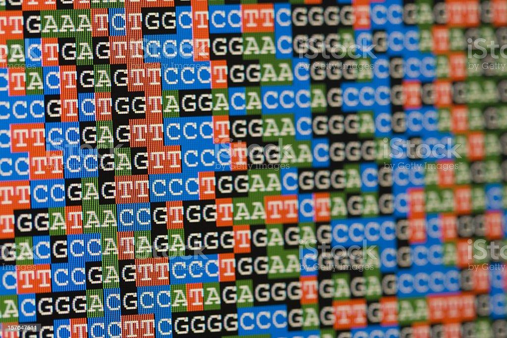 Unaligned DNA-Sequenzen wie auf einem LCD-Bildschirm – Foto