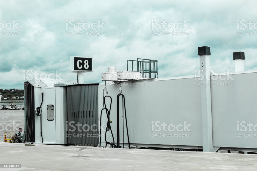 Unattached airport jetway on a cloudy day in Boston, May 15 2017 stock photo
