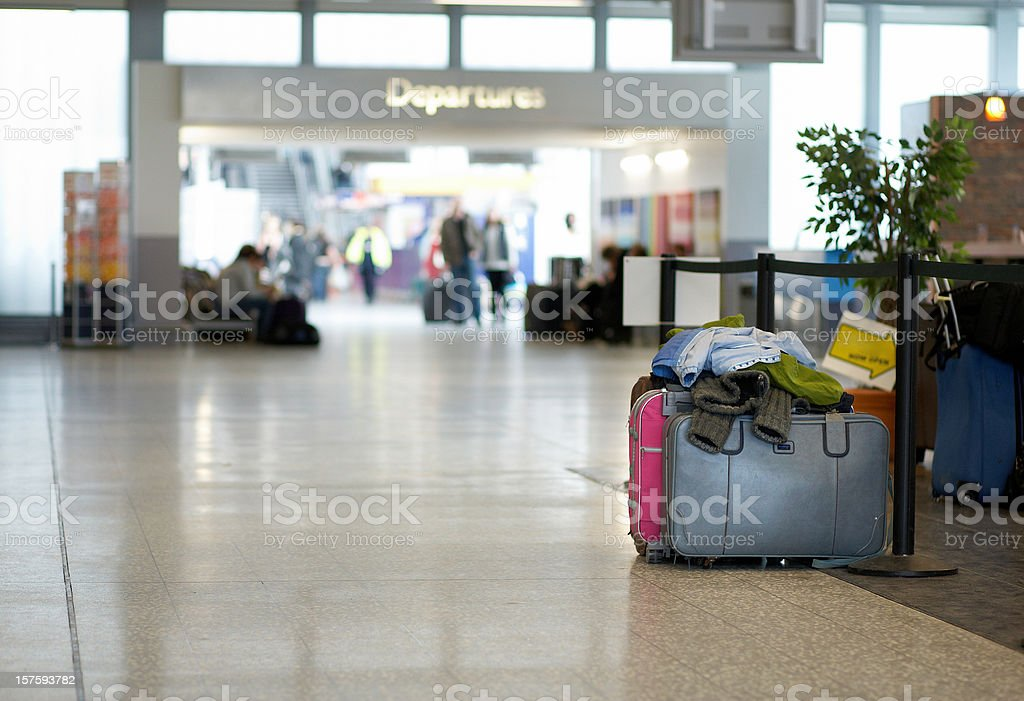 Unattended bags at airport terminal depatures royalty-free stock photo