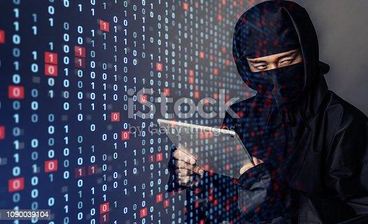 istock Unauthorized access concept. Hacker. 1090039104