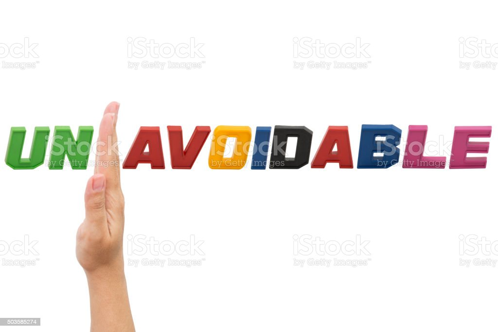 Unavoıdable , word with hand stock photo