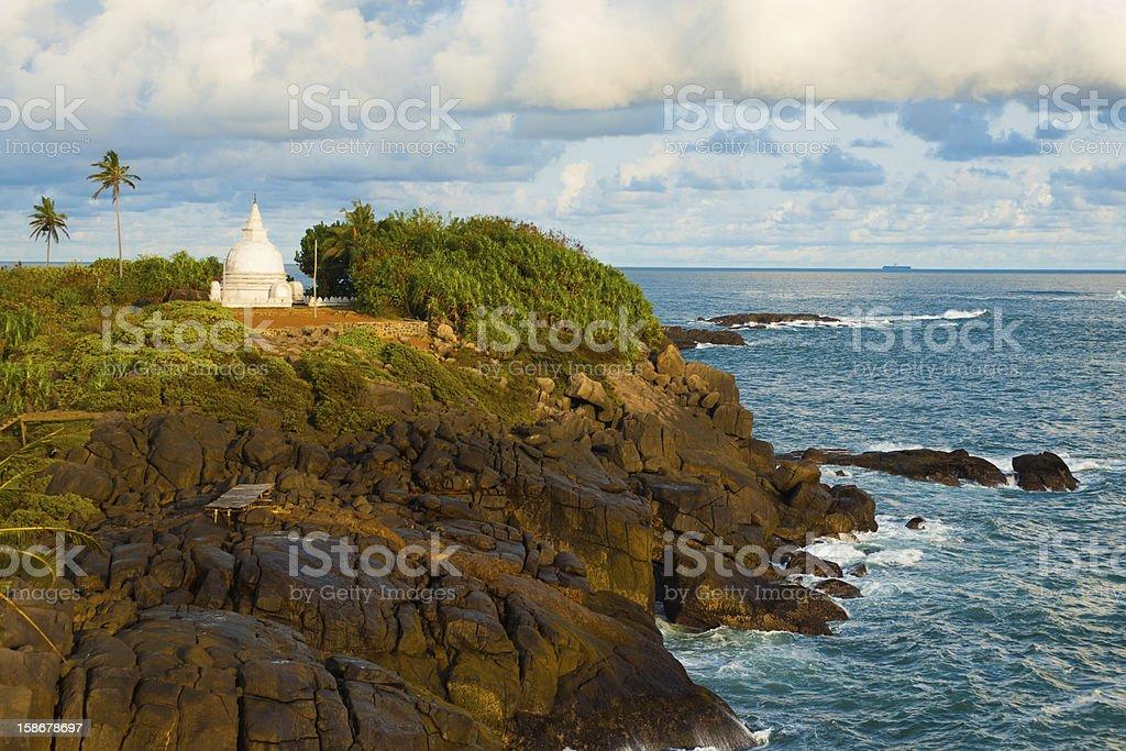 Unawatuna Headland Stupa Cliffs Ocean royalty-free stock photo