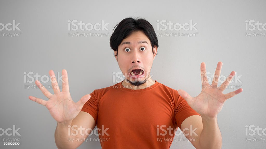 Unbelievable face of man. stock photo