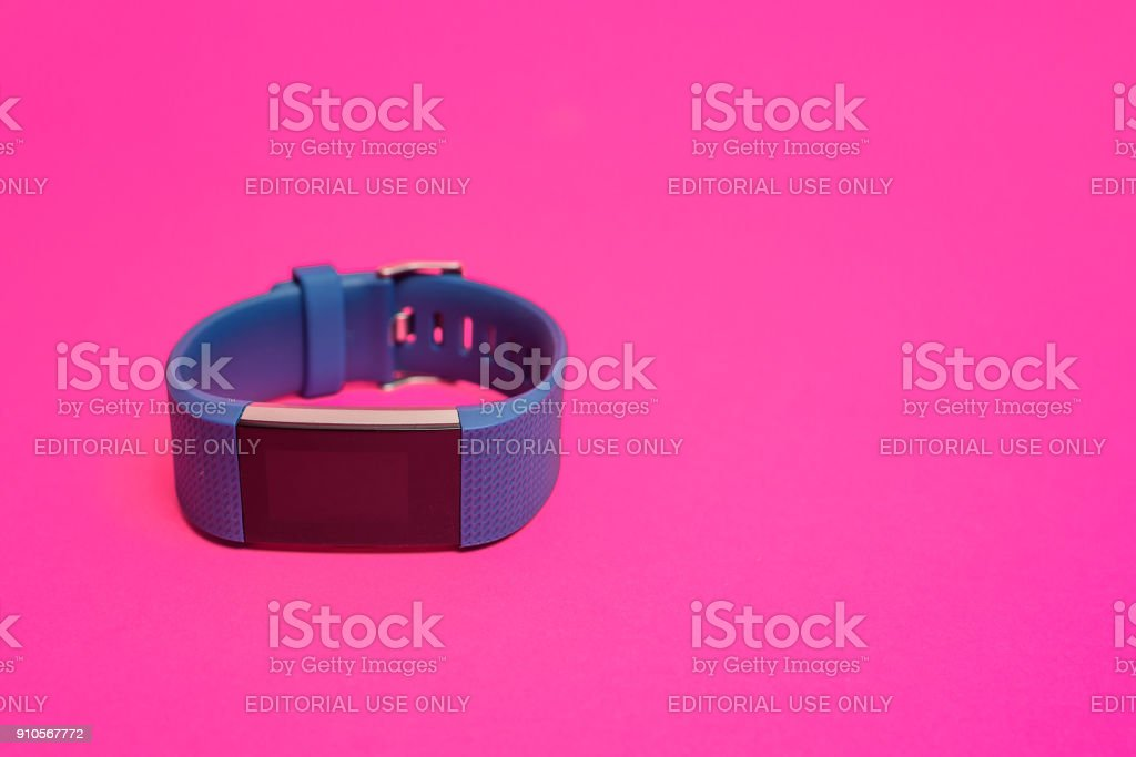 Unboxing Fitbit Charge 2 activity tracker stock photo