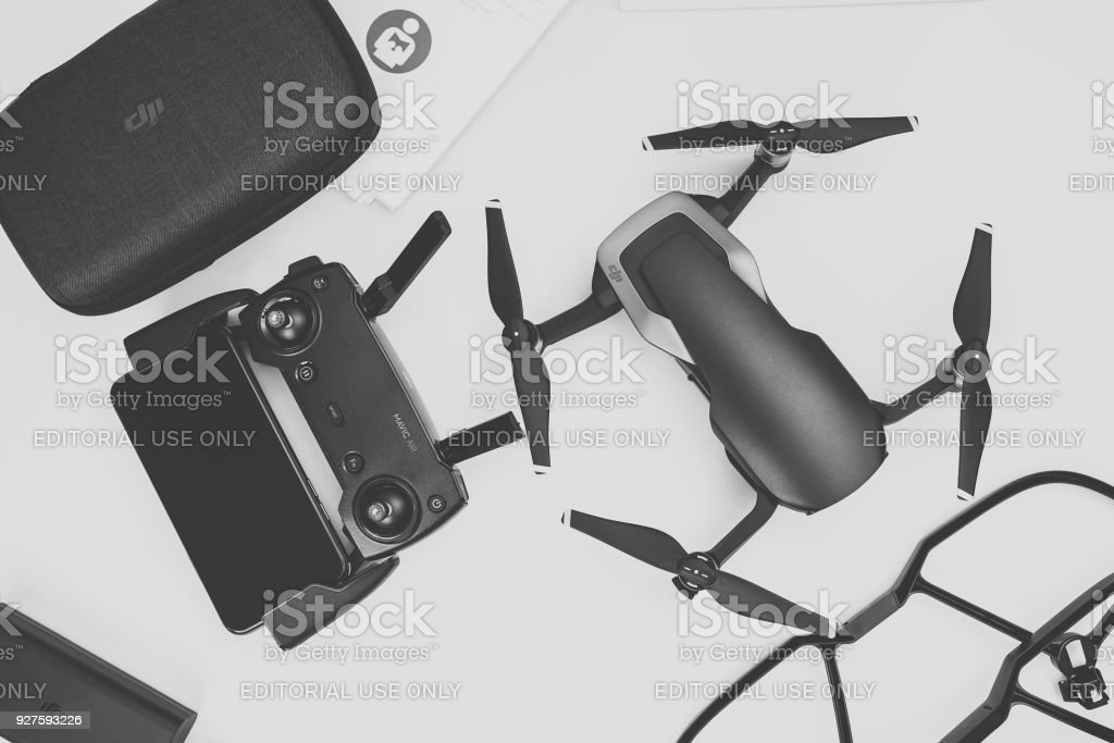 Unboxing newest DJI Mavic Air drone stock photo
