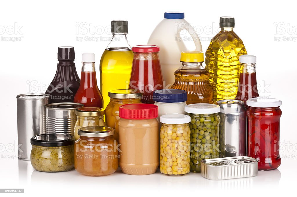 Un-branded canned goods, conserves, sauces and oils stock photo