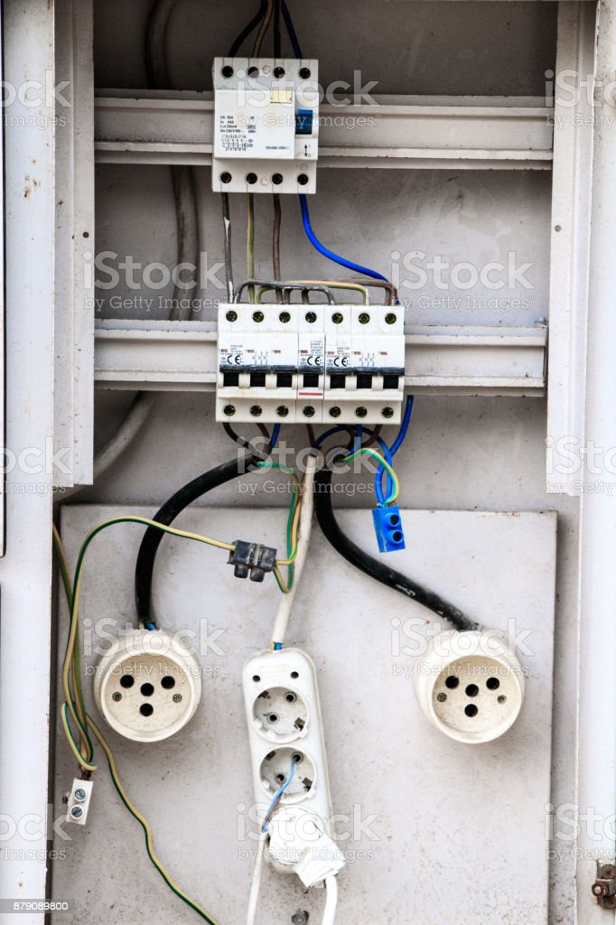 Uncertain electrical connection stock photo