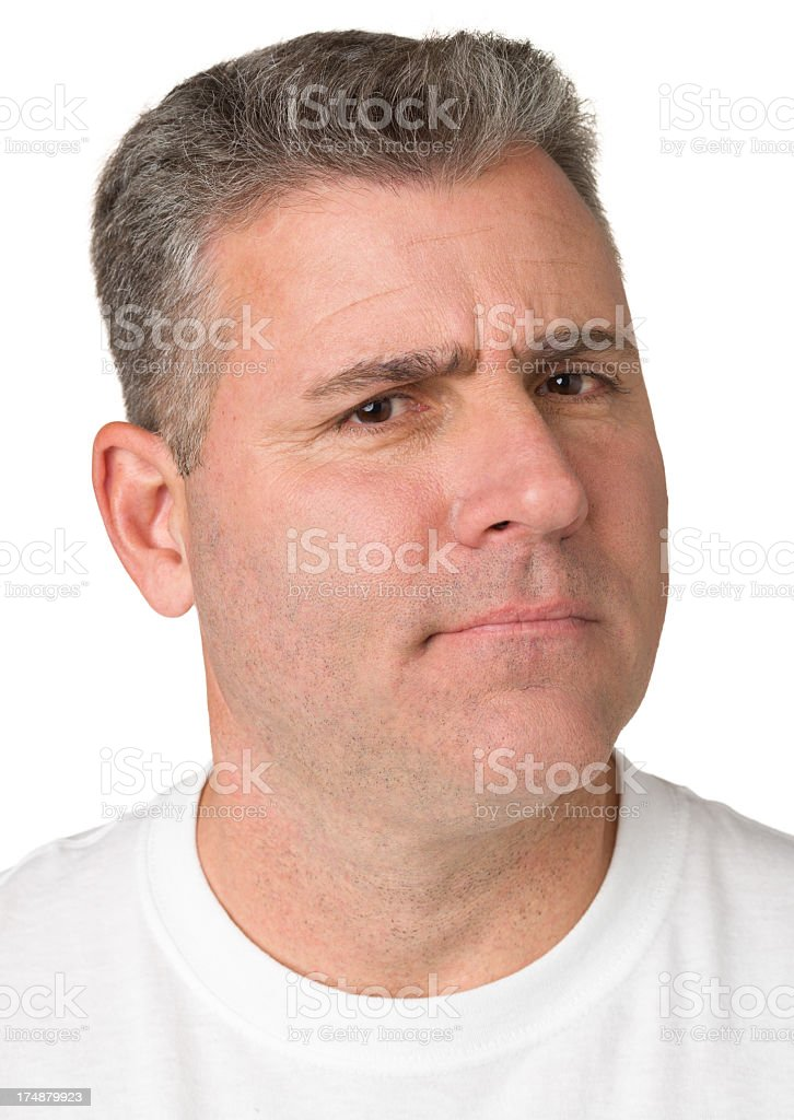 Uncertain Frowning Man, Close Up Headshot Portrait stock photo