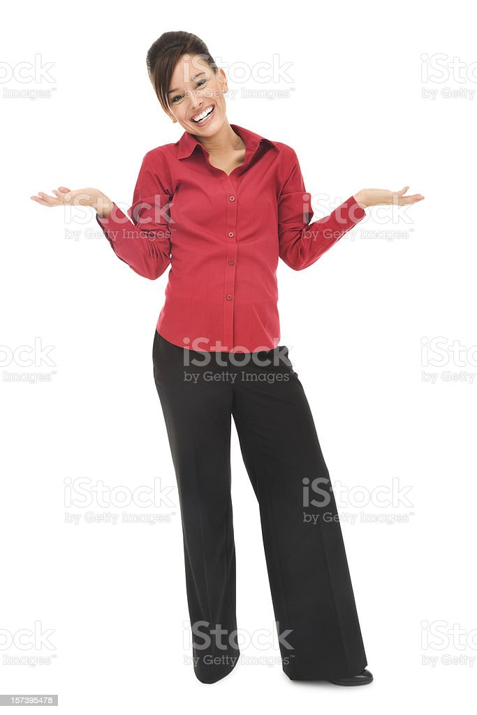 Uncertain Young Businesswoman in Red royalty-free stock photo