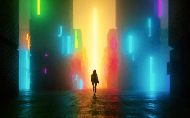 uncertain young woman standing on the street at night - футуристический стоковые фото и изображения