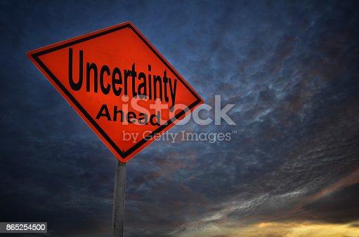 istock Uncertainty warning road sign 865254500