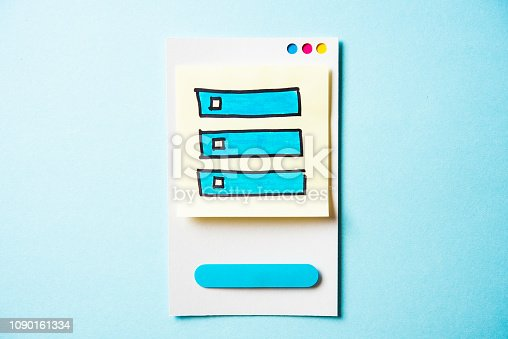 istock Unchecked box list with paper smart phone concept on blue background. Paper card with illustration. 1090161334
