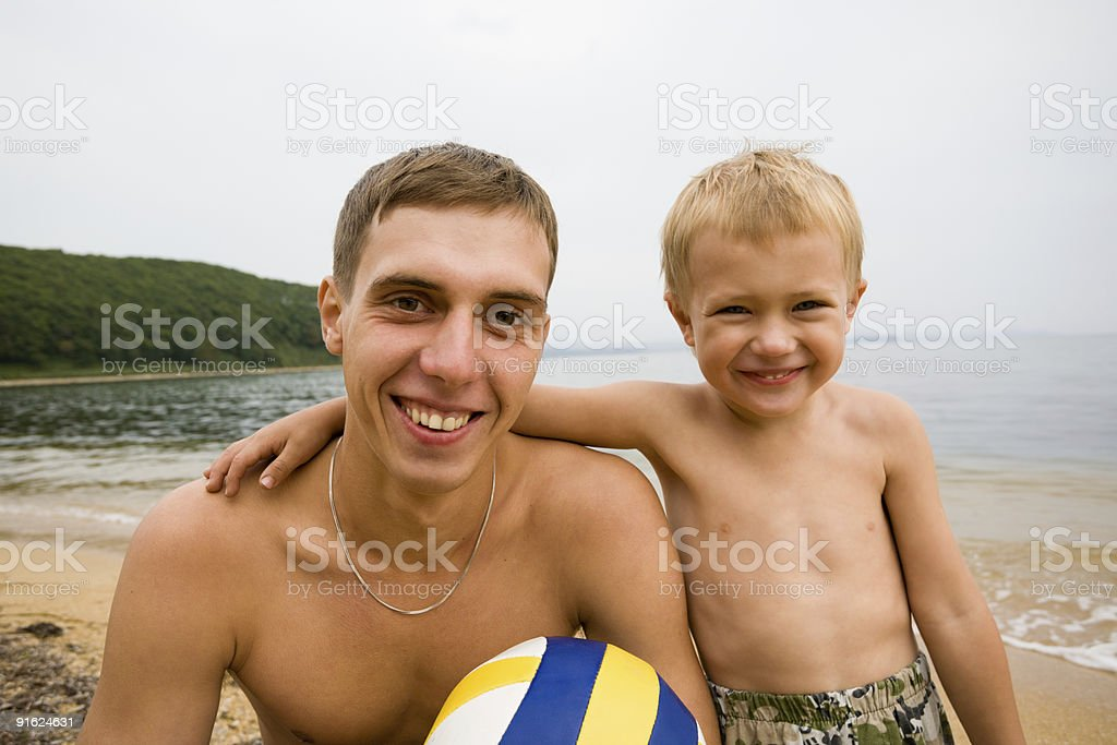 uncle and nephew stock photo